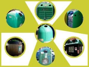 Diversos modelos de contenedores de reciclaje de vidrio