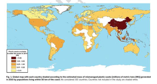 Vertidos de residuos plásticos al mar por países