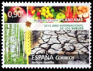 Correos y la SECS lanzan un sello conmemorativo del Año Internacional de los Suelos
