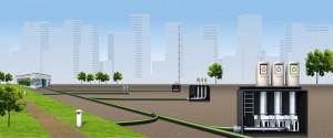 El sistema de recogida de residuos MetroTaifun pesa la basura que deposita cada habitante