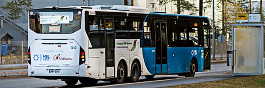 Autobuses impulsados por biodiésel producido a partir de residuos de la industria papelera