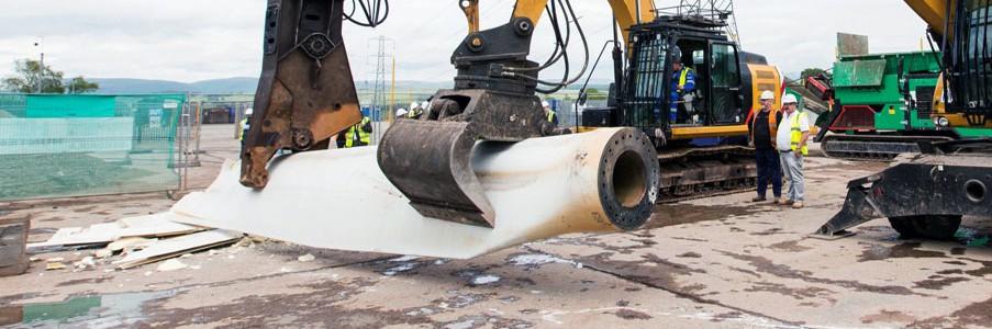Demostración del proyecto BRIO para el reciclaje de palas de aerogeneradores