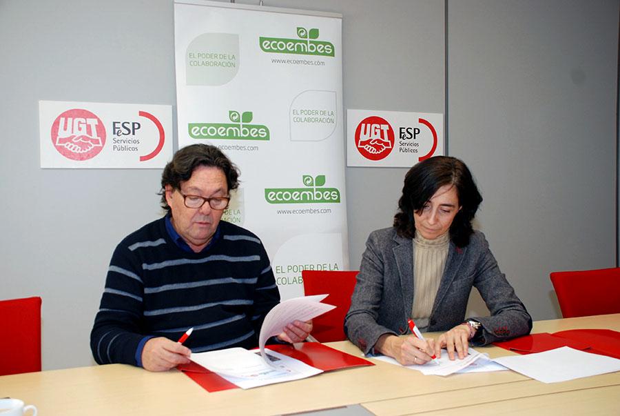 Acuerdo entre Ecoembes y UGT para promover el reciclaje de envases entre los trabajadores del sector público
