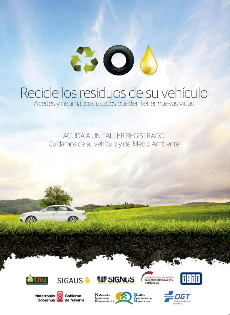 Cartel reciclaje automoción Navarra