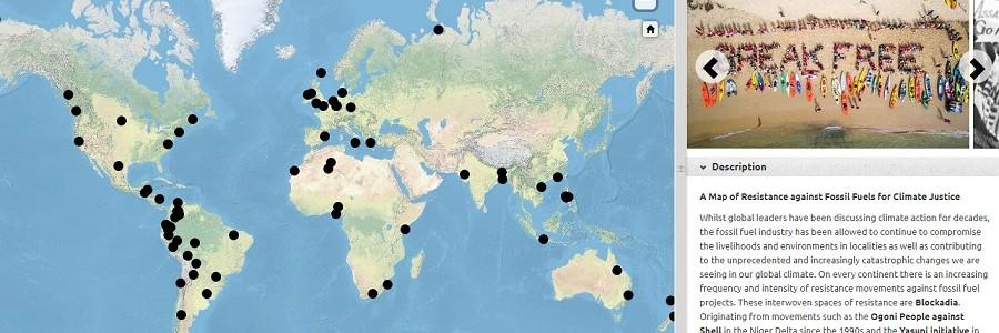 Un mapa interactivo recoge los movimientos mundiales contra los combustibles fósiles