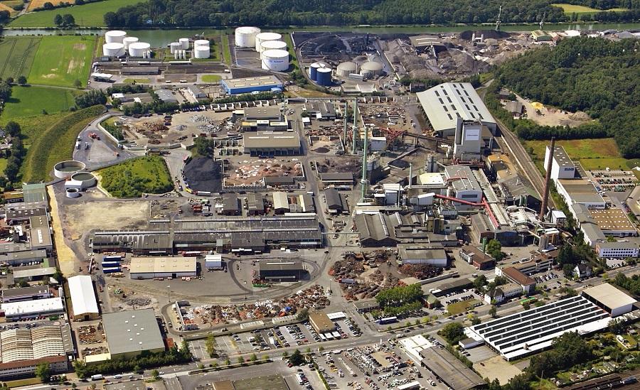 Vista aérea de la planta de reciclaje de Aurubis en Lünen