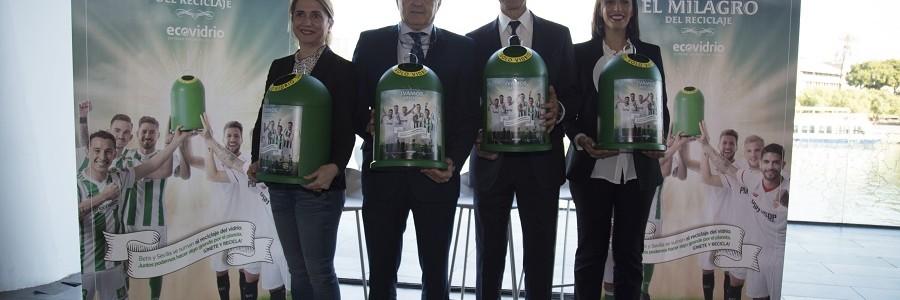 El reciclaje de vidrio une al Betis y al Sevilla