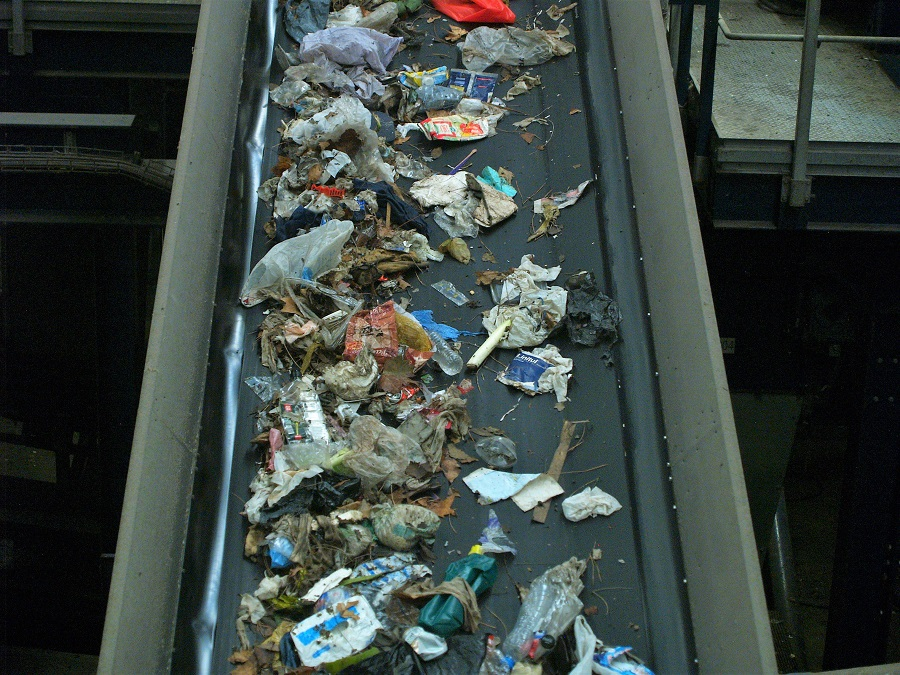 Cinta transportadora de residuos urbanos