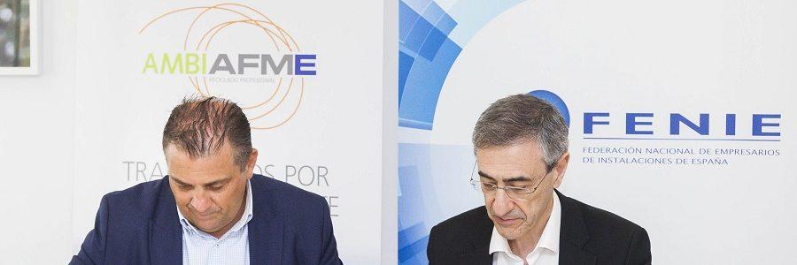 Acuerdo entre AMBILAMP/AMBIAFME y FENIE para fomentar el reciclaje de aparatos eléctricos entre los instaladores