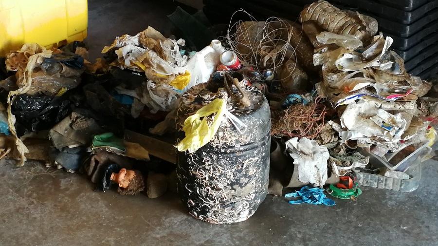 Residuos marinos recuperados en el puerto de Gandía