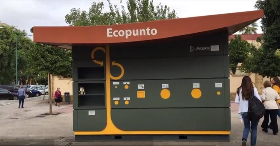 Uno de los puntos limpios urbanos o ecopuntos instalados en Sevilla