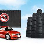 Neumáticos usados para fabricar muros aislantes para carreteras