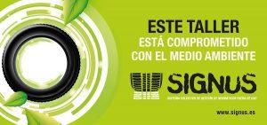 Distintivo de Signus para reconocer a los talleres comprometidos con la gestión de los neumáticos usados