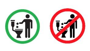 Etiquetad para toallitas y productos desechables en el inodoro