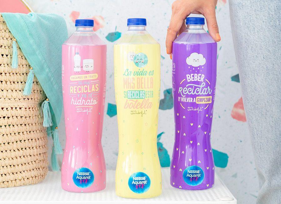 Nueva botella de plástico reciclado de Nestlé Aquarel