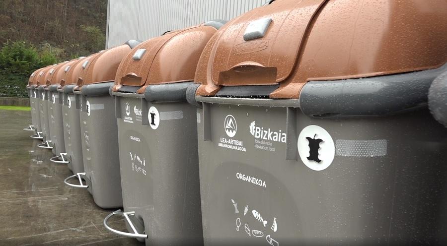 Contenedores de residuos orgánicos en Bizkaia