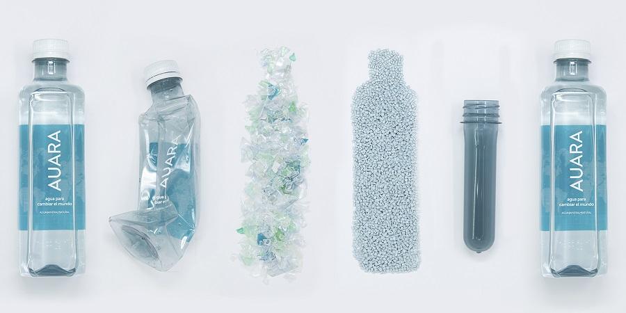 AUARA es la única empresa española que usa botellas de PET 100% reciclado