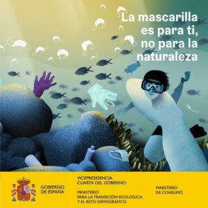 Campaña del Gobierno contra el abandono de mascarillas en entornos naturales