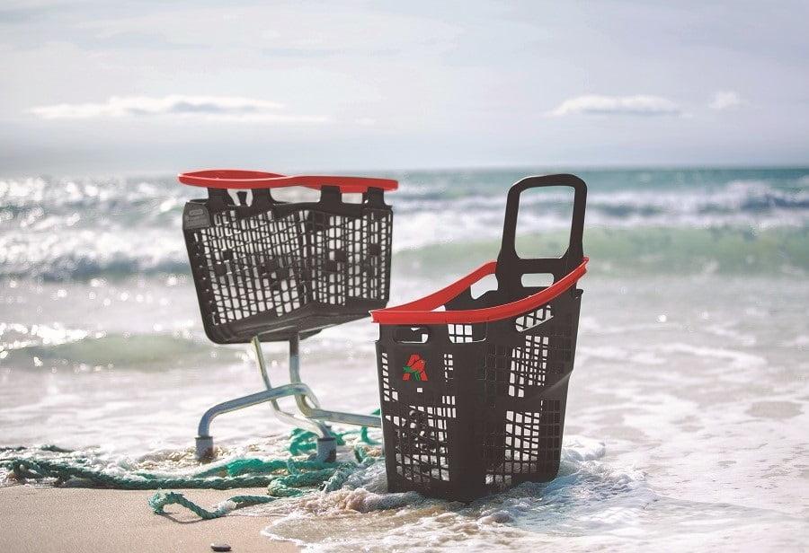 Carros y cestas de la compra fabricados con residuos reciclados