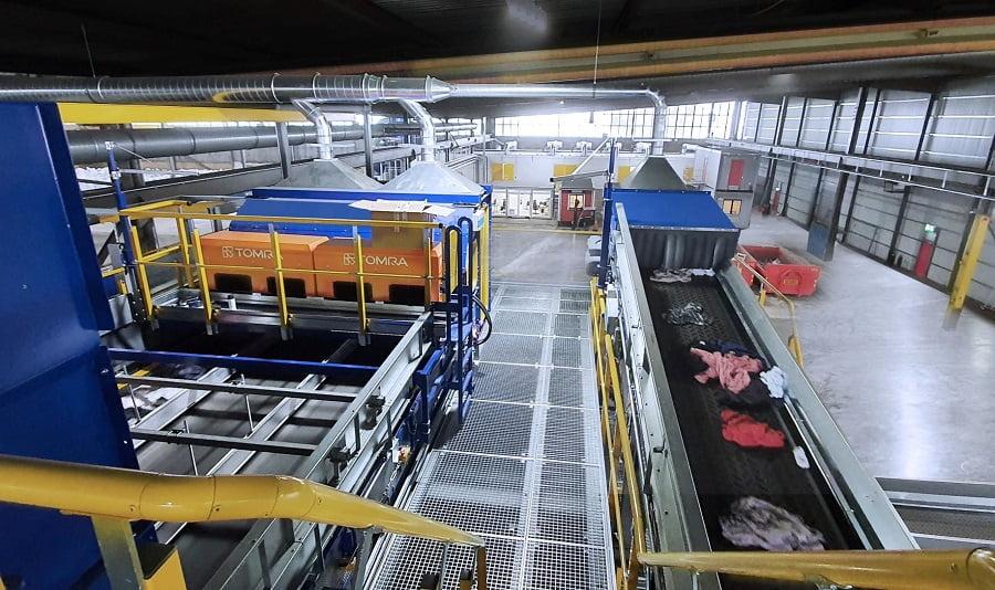 Planta de clasificación de residuos textiles de Sysav, en Suecia