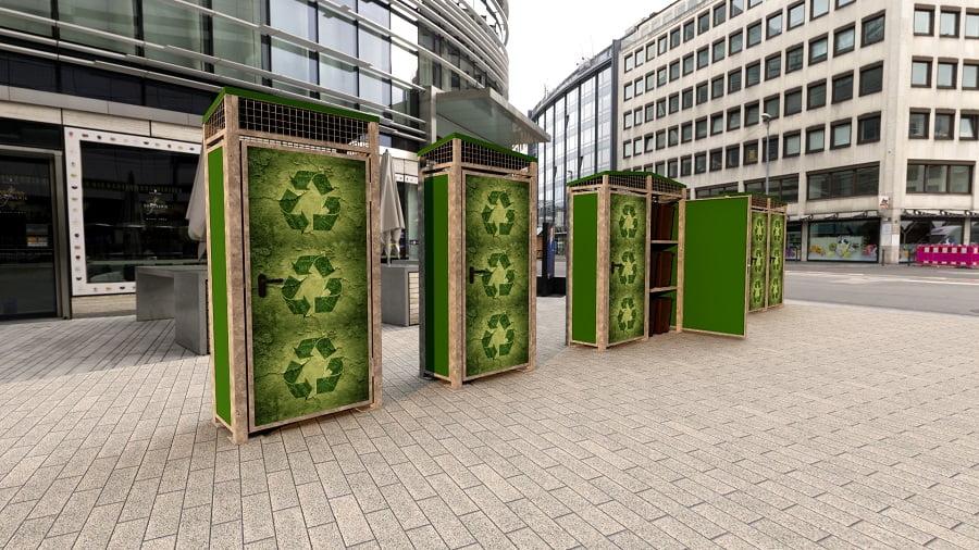Mobiliario urbano innovador para la gestión de residuos, de Disseny Barraca